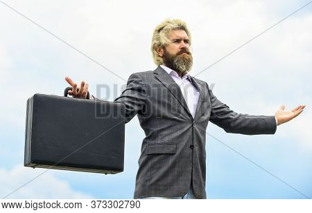 Inspired And Motivated. Business Man Formal Suit Carries Briefcase. Illegal Deal Business. Successfu