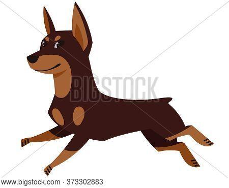 Running Doberman Side View. Cute Pet In Cartoon Style.