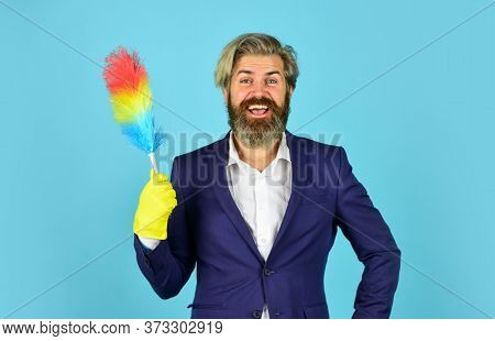Businessman Maid Pp Duster. Service Worker Use Ppduster. Hygiene And Housekeeping. Ready To Bring Ho