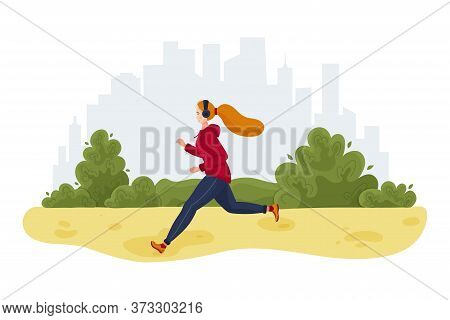 Running Sporty Girl. Woman Jogging In The City Park. Vector Illustration In Flat Style. Horizontal B