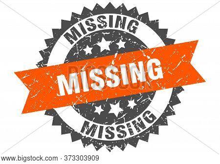 Missing Grunge Stamp With Orange Band. Missing