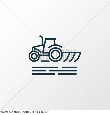 Plowing Icon Line Symbol. Premium Quality Isolated Cultivator Element In Trendy Style.