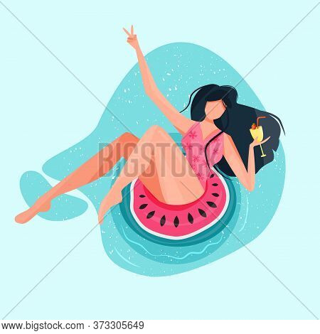 Woman Sitting On Watermelon Buoy On Water. Fruit Inflatable Circle. Fun Outdoor Sunbath Activity. Su