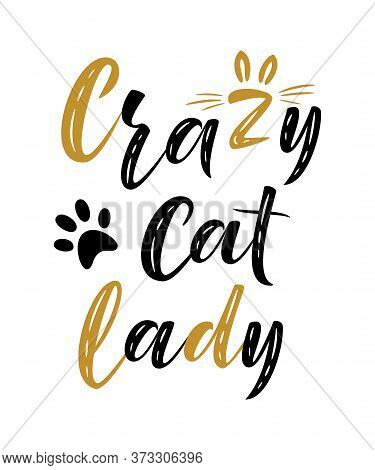 Crazy Cat Lady Handwritten Sign. Modern Brush Lettering. Cute Slogan About Cat. Cat Lover. Textured