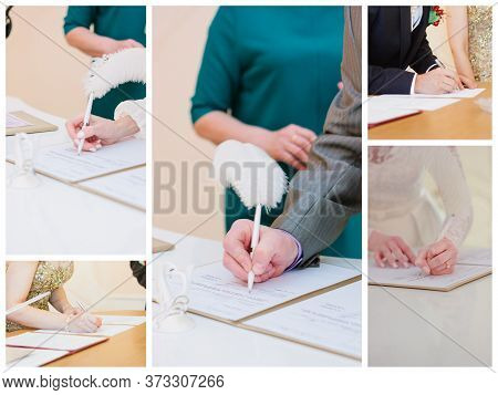Wedding Registration Process. Bride And Groom Sign In The Registration Book