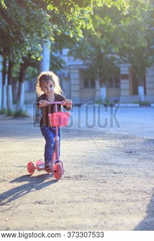 Yong Kid Girl Ride On Street On Child Scooter