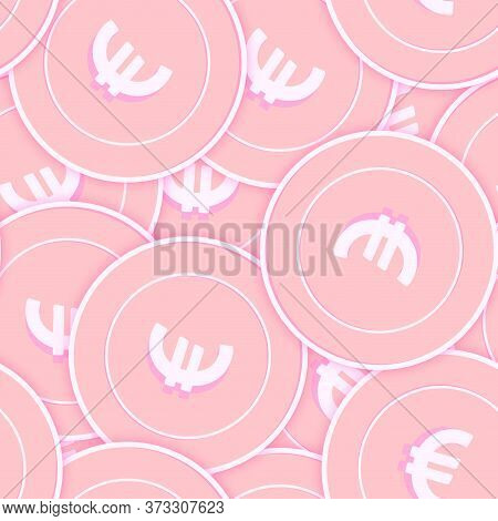 European Union Euro Copper Coins Seamless Pattern. Beauteous Scattered Pink Eur Coins. Success Conce