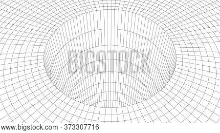Grid Texture. Wireframe Surface Tunnel. 3d Grid On Background. Vector Wormhole