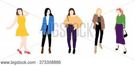 Five Women Vector Set. Stylish Girls Dressed In Trendy Clothes. Friends. Group Of Famale.