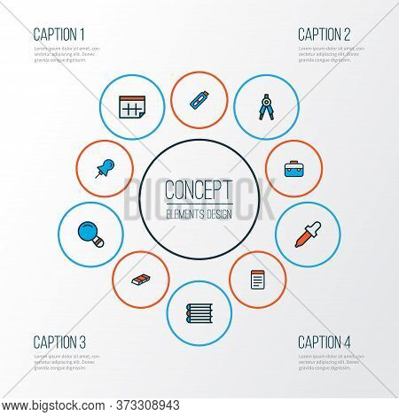Tool Icons Colored Line Set With Books, Case, Pin And Other Thumbtack Elements. Isolated Illustratio