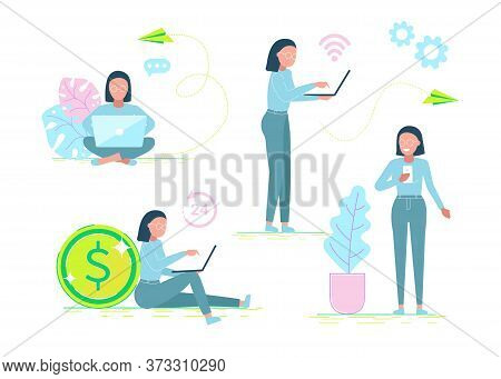 business people.Set of office workers characters. Flat design corporate business people. Full length.business people Different poses and situations. Business people. Business background.business people Infographic business arrow shape template design. Bus