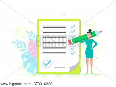 Businesswoman checklist. business people.Successful woman checking task success, completed business tasks. vector illustration. Business people. Business background. Infographic business arrow shape template design. Business background.business people