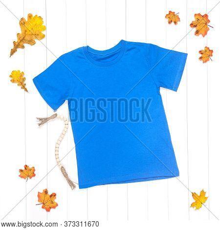 Blue T-shirt Mockup On White Background, Styled Photo, Women's T-shirt Layout, Real T-shirt Photogra