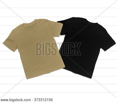 Black And Sage Green T-shirt Mockup On White Background, Adult T-shirts, Iced Coffee And Black T-shi