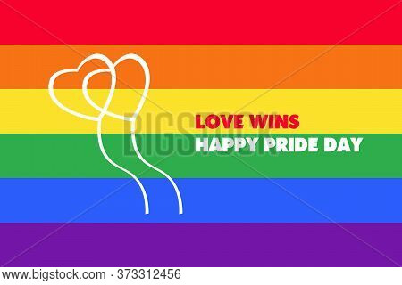 Happy Pride Day Banner With Typography Text On Line Colorful Rainbow Bend Up Vector Design. Gay Prid