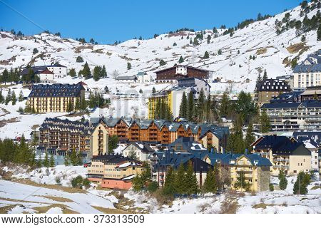 Candanchu ski resort in the Pyrenees, Huesca Province, Aragon in Spain.