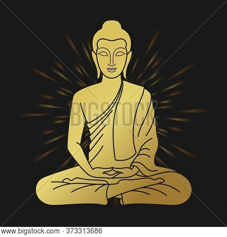 Gold Buddha Sitting Meditated Sign And Halo Light On Black Background Vector Design