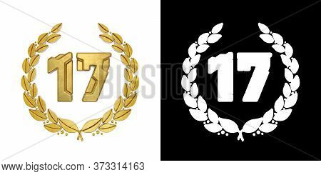 Gold Number 17 (number Seventeen) With Laurel Branch With Alpha Channel. 3d Illustration
