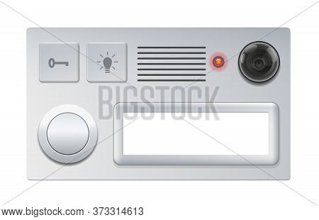Doorbell With Camera, Push Button And Blank Name Plate - Isolated Vector Illustration On White Backg