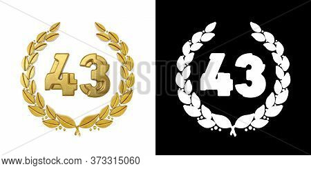 Gold Number 43 (number Forty-three) With Laurel Branch With Alpha Channel. 3d Illustration