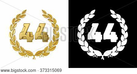 Gold Number 44 (number Forty-four) With Laurel Branch With Alpha Channel. 3d Illustration