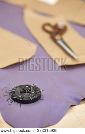 Sewing Scissors, Fabric And Pins For Sewing And Needlework . Sewing Kit