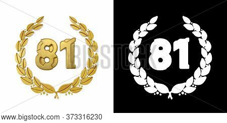 Gold Number 81 (number Eighty-one) With Laurel Branch With Alpha Channel. 3d Illustration