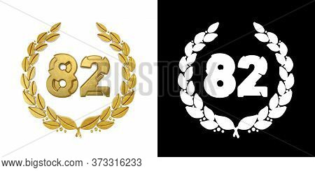 Gold Number 82 (number Eighty-two) With Laurel Branch With Alpha Channel. 3d Illustration