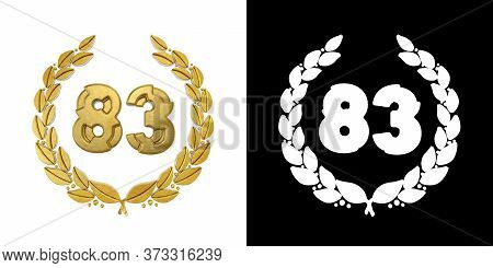 Gold Number 83 (number Eighty-three) With Laurel Branch With Alpha Channel. 3d Illustration