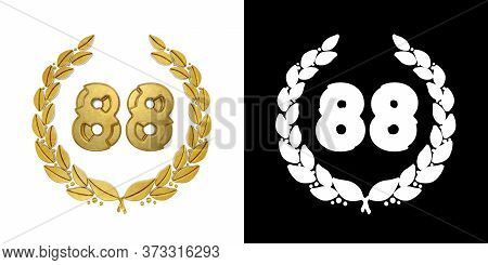Gold Number 88 (number Eighty-eight) With Laurel Branch With Alpha Channel. 3d Illustration