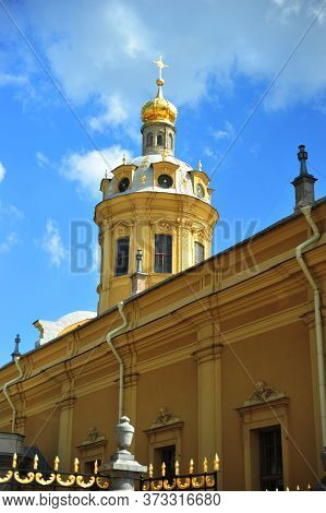 Saint Petersburg, Russia. Peter And Paul Cathedral And Grand Ducal Burial Vault On The Territory Of