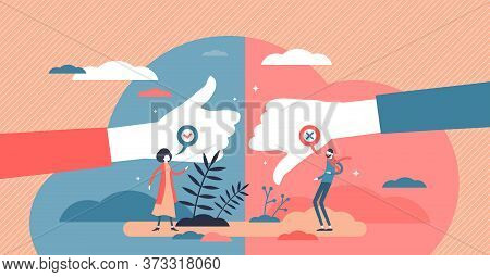 Pros And Cons Advantage Comparison In Flat Tiny Persons Concept Vector Illustration. Choice Between