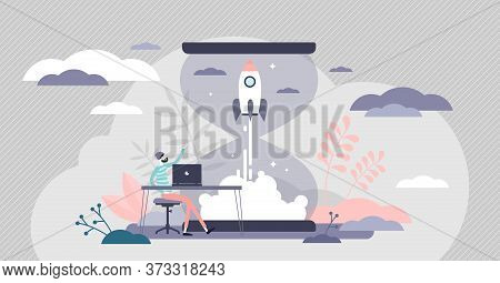 Startup Innovation With New Ideas In Flat Tiny Persons Concept Vector Illustration. Business Idea De