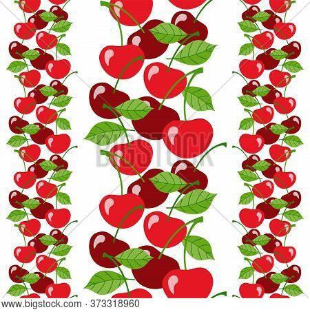 Seamless Vertical Border With Cherries And Leaves On A White Background In Flat Style. Vector Design