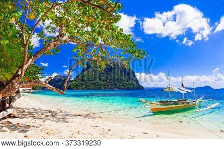Paradise nature and  exotic wild beauty of unique Palawan island. Magical El Nido. Philippines