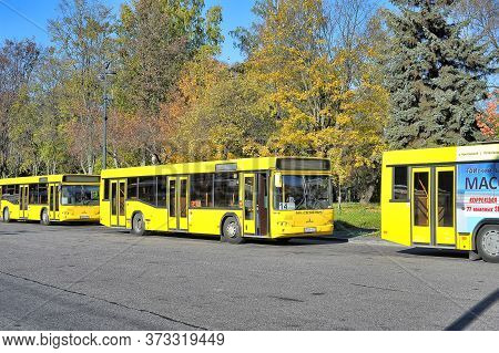 Russia, St. Petersburg, 05,10,2013 City Buses Are In The Park