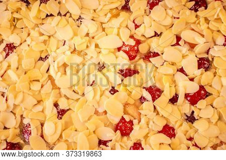 Young Boy Is Cooking And Baking Cherry Pie With Almond Slices With His Mamm, Closeup Of Cherry Pie W