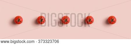 Background With Tomatoes Pattern For Web Banner On Poster On Market Sale. Concept Of Minimal Backgro
