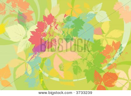Summer Bright Green Background With Leafs