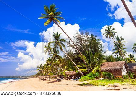 Exotic tropical hollidays - tranquil beautiful beaches of Sri Lanka island. Tangalle on south