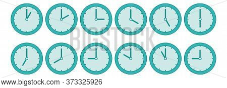 Time Concept. Part Of White Wall Clock On Trendy Pastel Green Background. Close Up With Copy Space,
