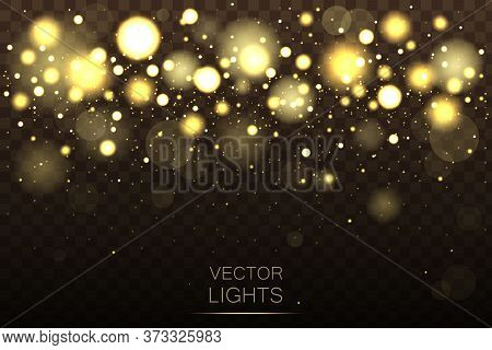 Festive Purple And Golden Luminous Background With Colorful Lights Bokeh. Light Abstract Glowing Bok