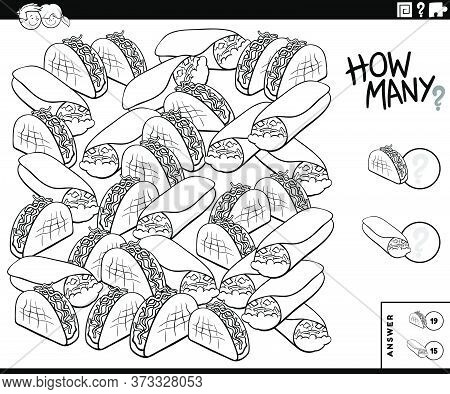 Black And White Illustration Of Educational Counting Game For Children With Burrito An Taco Food Obj