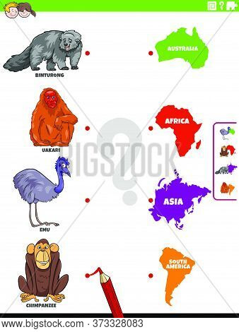 Cartoon Illustration Of Educational Matching Game For Children With Wild Animal Species Characters A