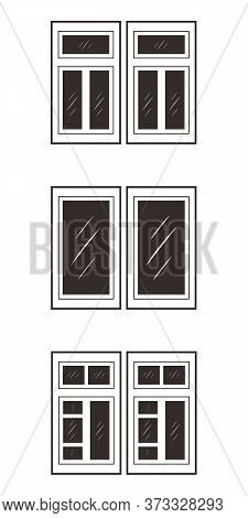 Window Frames Isolated On White Background. Set With Different Silhouettes Of Window Frames For Home