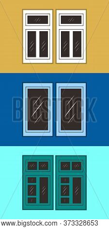 Flat Windows Frames. Colorful Various Wooden And Plastic Window Frames With Window Sills, Exterior A