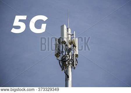Inscription 5g And Telecommunication, Cellular Tower And Antenna. Radio Tower With 4g, 5g Network Ag