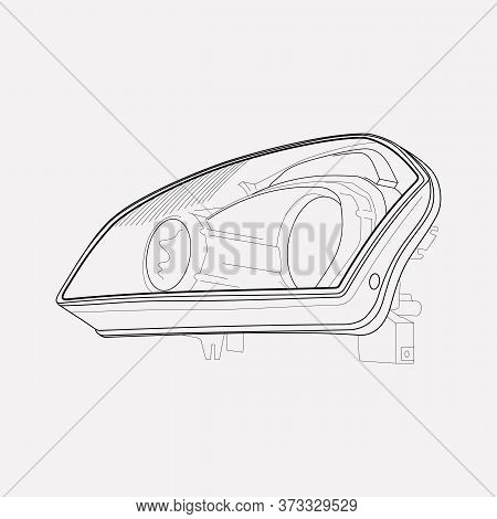 Headlights Icon Line Element. Vector Illustration Of Headlights Icon Line Isolated On Clean Backgrou