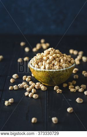 Bowl Chickpea Close Up On Dark Wooden Table With Copy Space