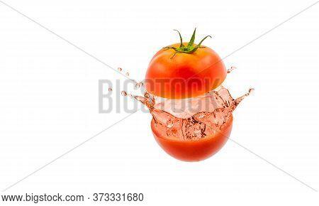 Tomato Juice Splashing On White A Background